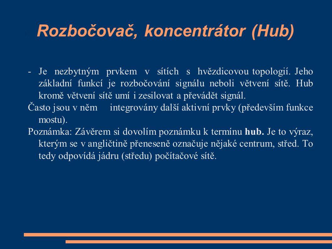 Rozbočovač, koncentrátor (Hub) - Je nezbytným prvkem v sítích s hvězdicovou topologií.