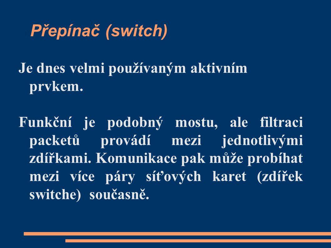Přepínač (switch) Je dnes velmi používaným aktivním prvkem.