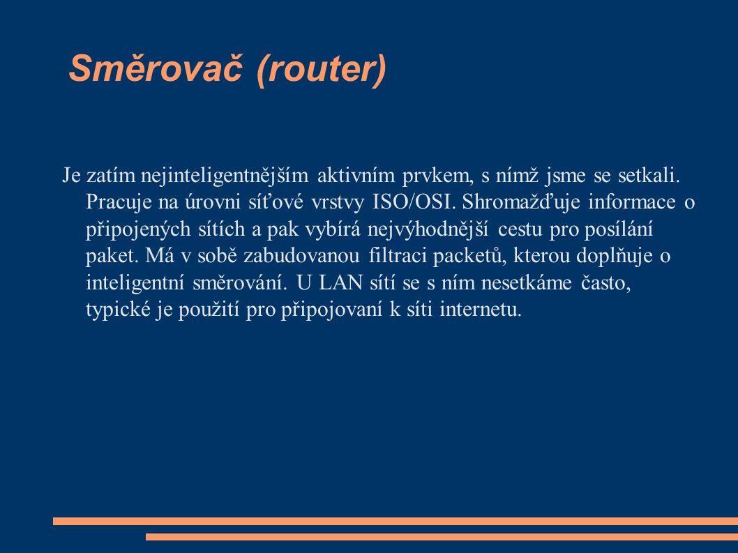 Směrovač (router) Je zatím nejinteligentnějším aktivním prvkem, s nímž jsme se setkali.