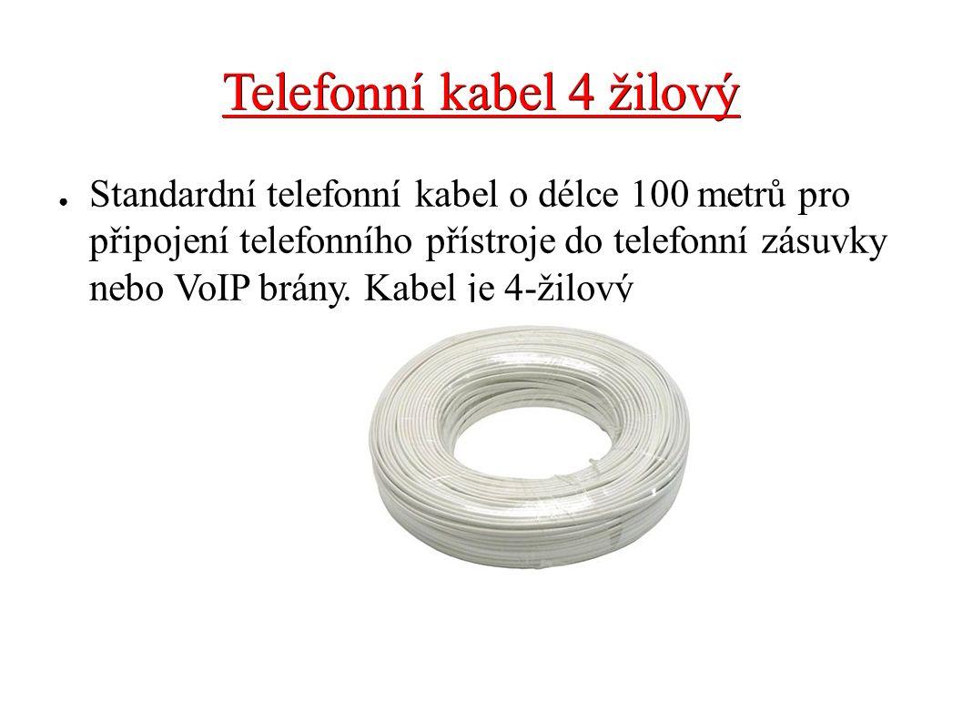 Telefonní kabel 4 žilový ● Standardní telefonní kabel o délce 100 metrů pro připojení telefonního přístroje do telefonní zásuvky nebo VoIP brány. Kabe