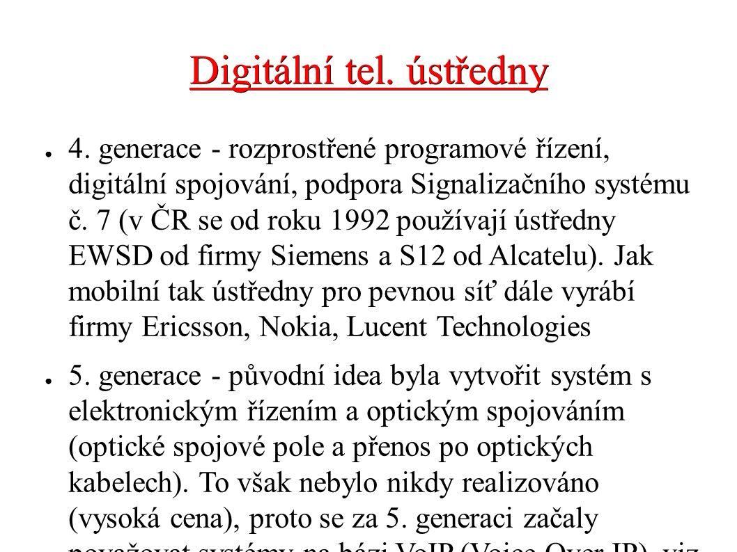 Digitální tel. ústředny ● 4. generace - rozprostřené programové řízení, digitální spojování, podpora Signalizačního systému č. 7 (v ČR se od roku 1992