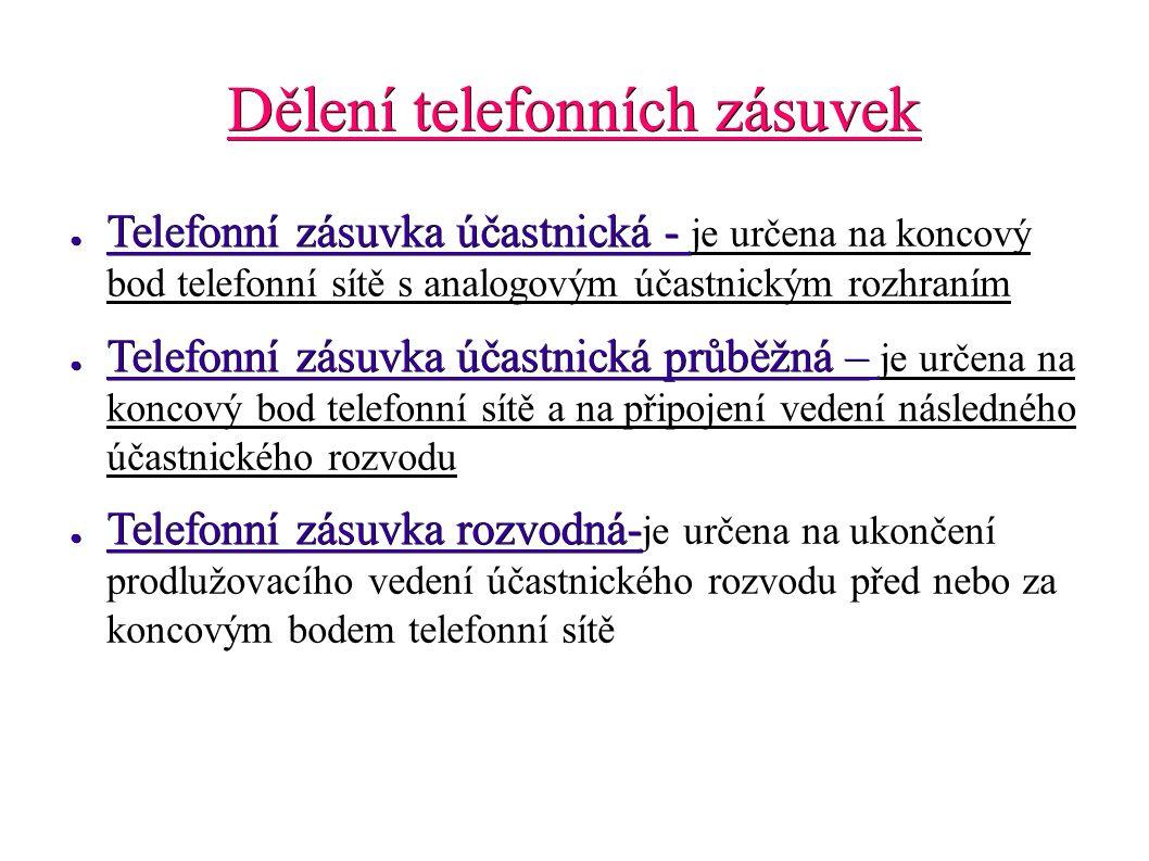 Dělení telefonních zásuvek ● Telefonní zásuvka účastnická - ● Telefonní zásuvka účastnická - je určena na koncový bod telefonní sítě s analogovým účas
