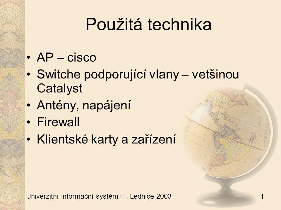 1 Univerzitní informační systém II., Lednice 2003 Použitá technika AP – cisco Switche podporující vlany – vetšinou Catalyst Antény, napájení Firewall Klientské karty a zařízení