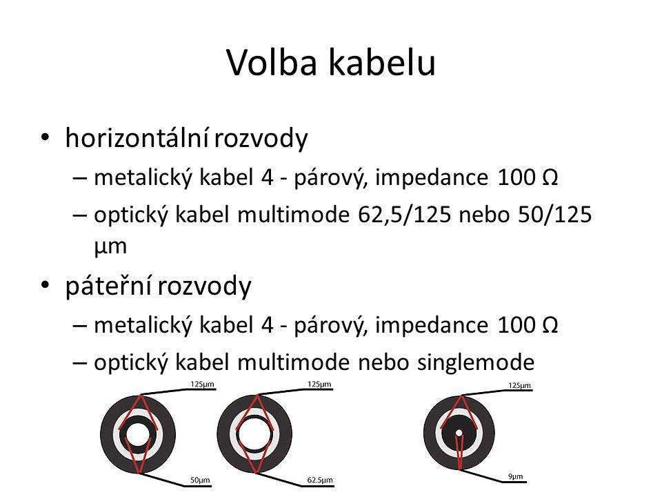 Volba kabelu horizontální rozvody – metalický kabel 4 - párový, impedance 100 Ω – optický kabel multimode 62,5/125 nebo 50/125 μm páteřní rozvody – metalický kabel 4 - párový, impedance 100 Ω – optický kabel multimode nebo singlemode