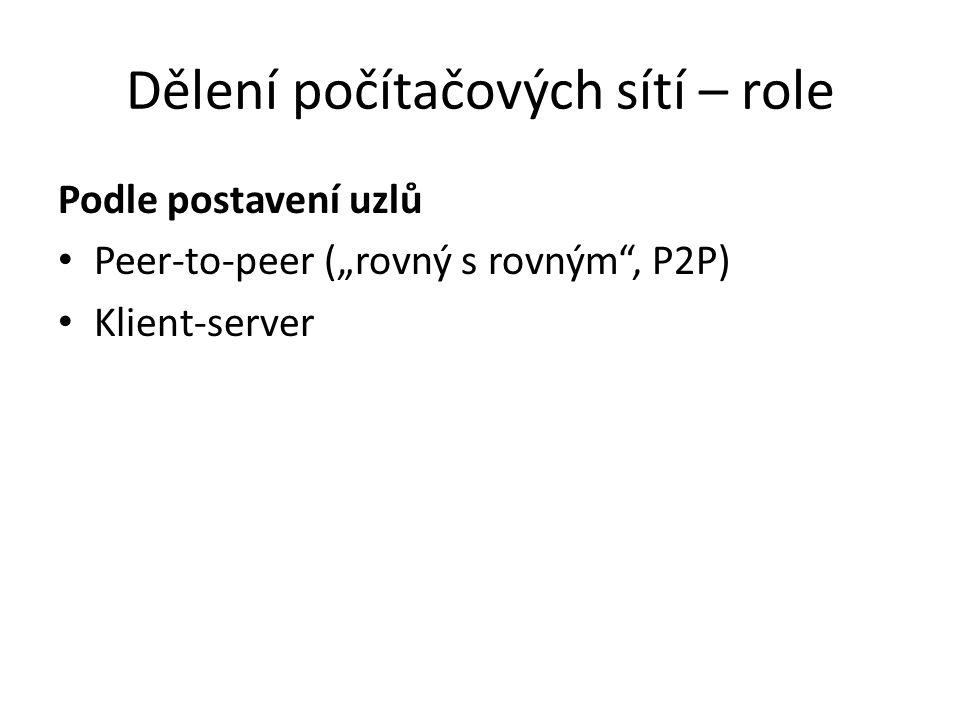 """Dělení počítačových sítí – role Podle postavení uzlů Peer-to-peer (""""rovný s rovným , P2P) Klient-server"""
