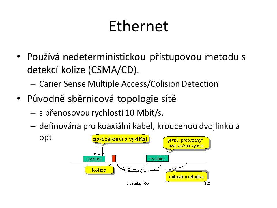 Ethernet Používá nedeterministickou přístupovou metodu s detekcí kolize (CSMA/CD).