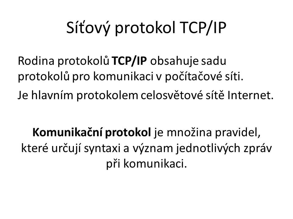 Síťový protokol TCP/IP Rodina protokolů TCP/IP obsahuje sadu protokolů pro komunikaci v počítačové síti.