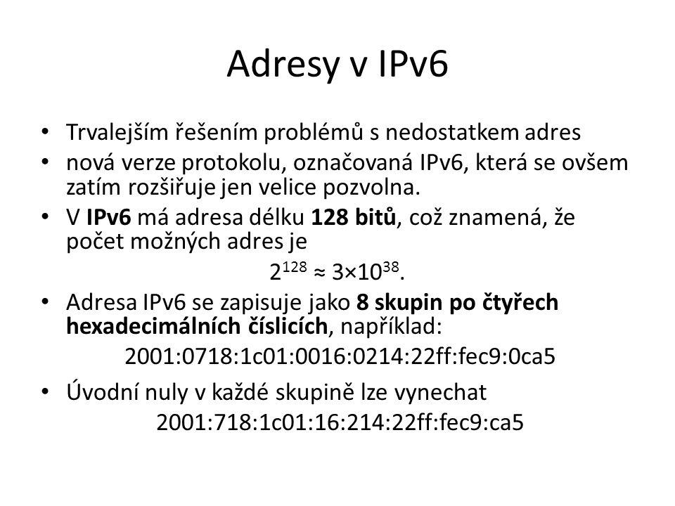Adresy v IPv6 Trvalejším řešením problémů s nedostatkem adres nová verze protokolu, označovaná IPv6, která se ovšem zatím rozšiřuje jen velice pozvolna.