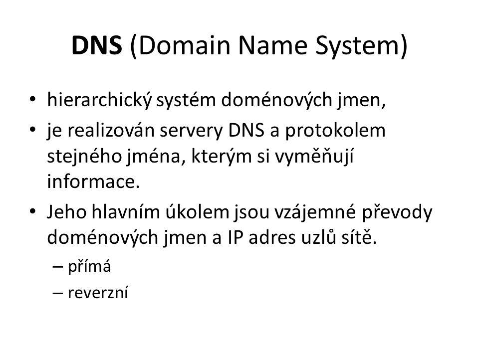 DNS (Domain Name System) hierarchický systém doménových jmen, je realizován servery DNS a protokolem stejného jména, kterým si vyměňují informace.