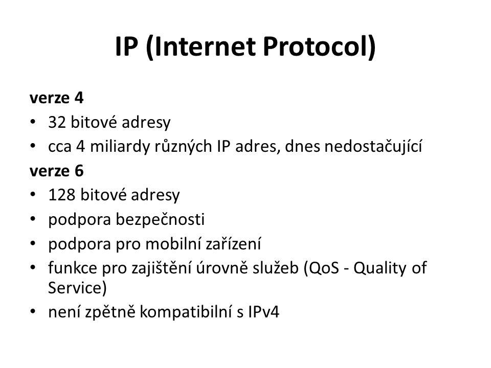 IP (Internet Protocol) verze 4 32 bitové adresy cca 4 miliardy různých IP adres, dnes nedostačující verze 6 128 bitové adresy podpora bezpečnosti podpora pro mobilní zařízení funkce pro zajištění úrovně služeb (QoS - Quality of Service) není zpětně kompatibilní s IPv4