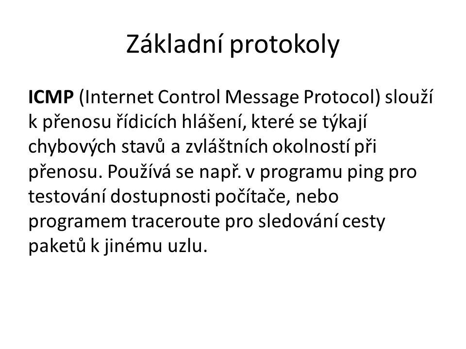 Základní protokoly ICMP (Internet Control Message Protocol) slouží k přenosu řídicích hlášení, které se týkají chybových stavů a zvláštních okolností při přenosu.