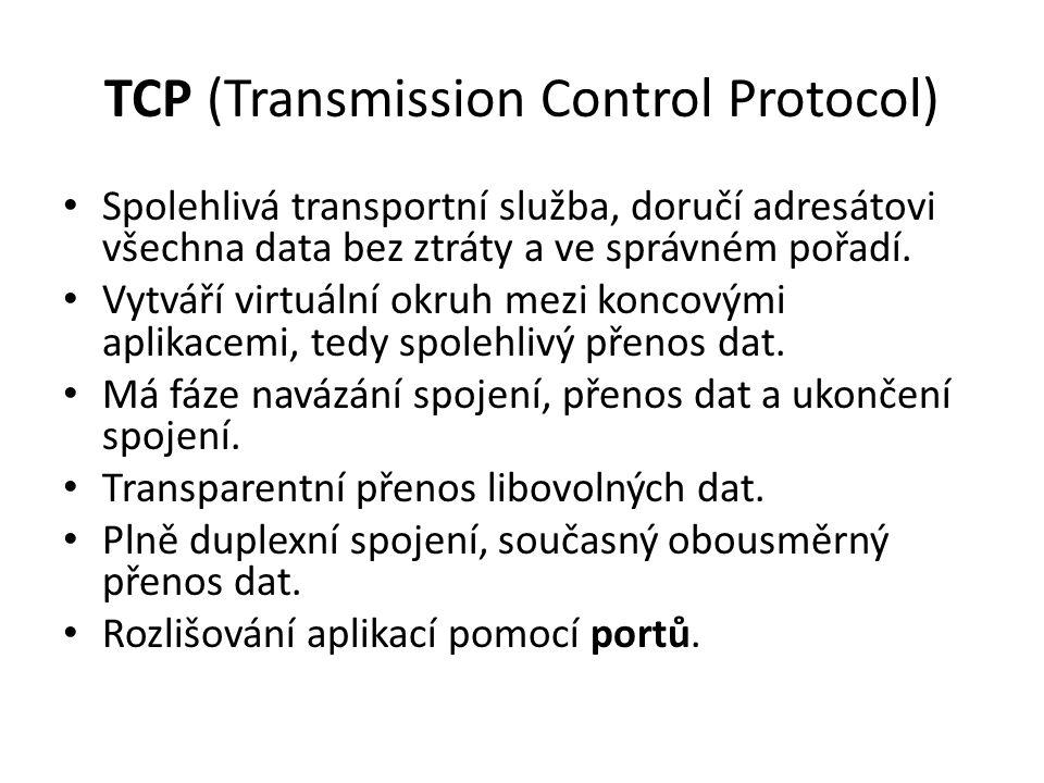 TCP (Transmission Control Protocol) Spolehlivá transportní služba, doručí adresátovi všechna data bez ztráty a ve správném pořadí.