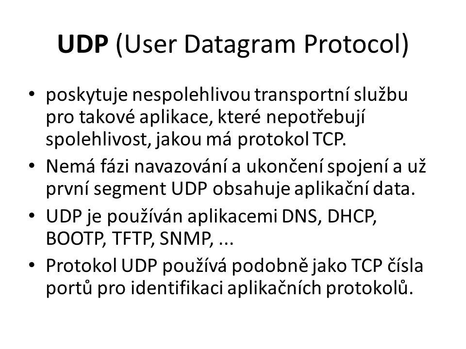 UDP (User Datagram Protocol) poskytuje nespolehlivou transportní službu pro takové aplikace, které nepotřebují spolehlivost, jakou má protokol TCP.