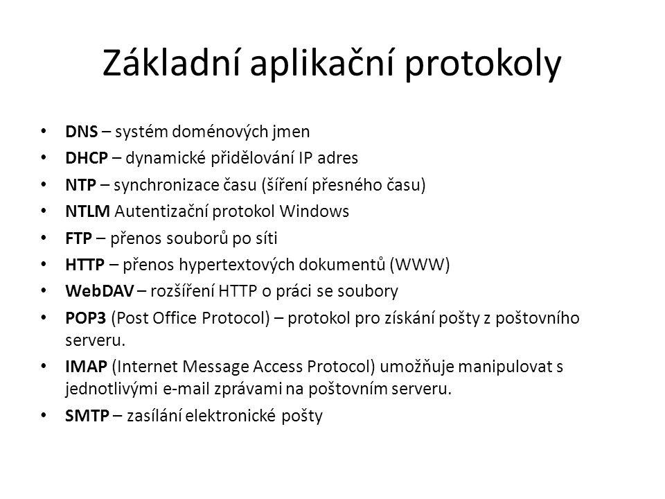 Základní aplikační protokoly DNS – systém doménových jmen DHCP – dynamické přidělování IP adres NTP – synchronizace času (šíření přesného času) NTLM Autentizační protokol Windows FTP – přenos souborů po síti HTTP – přenos hypertextových dokumentů (WWW) WebDAV – rozšíření HTTP o práci se soubory POP3 (Post Office Protocol) – protokol pro získání pošty z poštovního serveru.