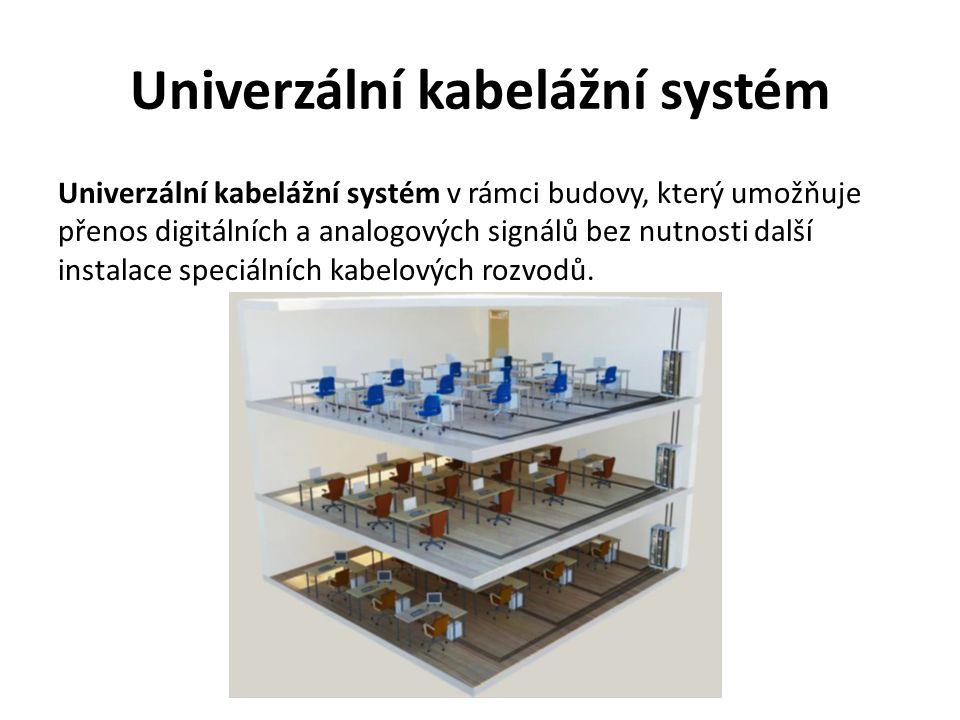 Univerzální kabelážní systém Univerzální kabelážní systém v rámci budovy, který umožňuje přenos digitálních a analogových signálů bez nutnosti další instalace speciálních kabelových rozvodů.