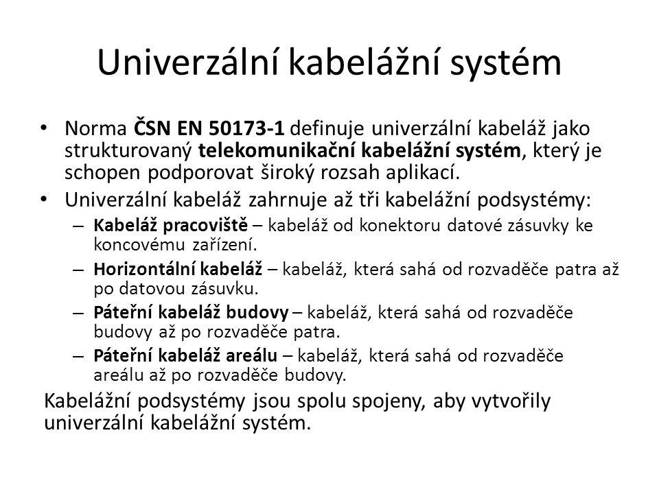 Univerzální kabelážní systém Norma ČSN EN 50173-1 definuje univerzální kabeláž jako strukturovaný telekomunikační kabelážní systém, který je schopen podporovat široký rozsah aplikací.