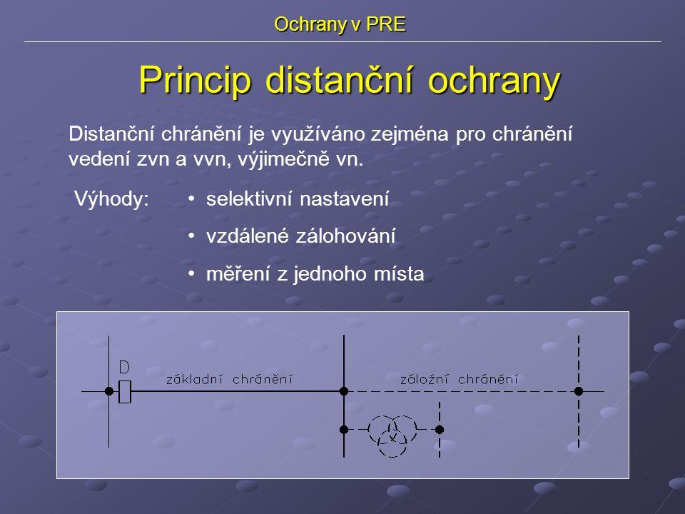 Ochrany v PRE Distanční chránění je využíváno zejména pro chránění vedení zvn a vvn, výjimečně vn.