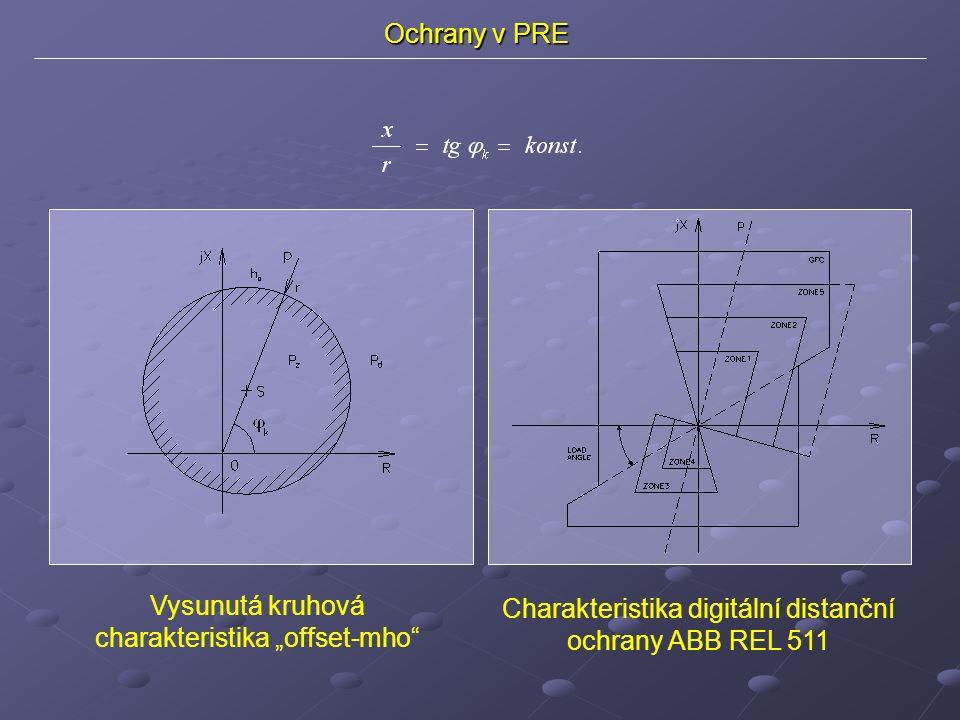 """Ochrany v PRE Vysunutá kruhová charakteristika """"offset-mho Charakteristika digitální distanční ochrany ABB REL 511"""