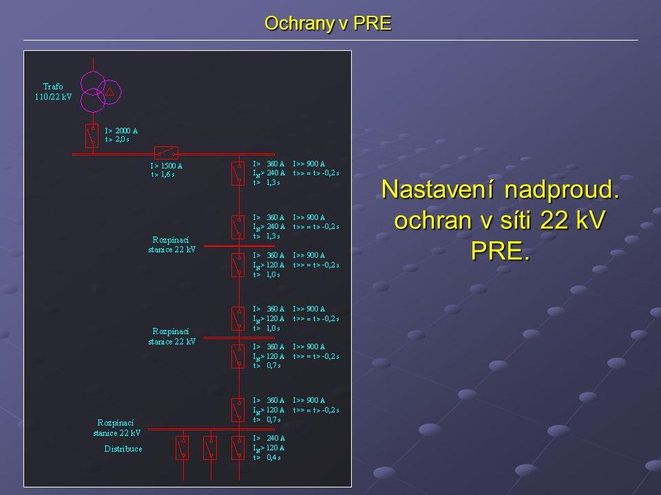 Ochrany v PRE Nastavení nadproud. ochran v síti 22 kV PRE.
