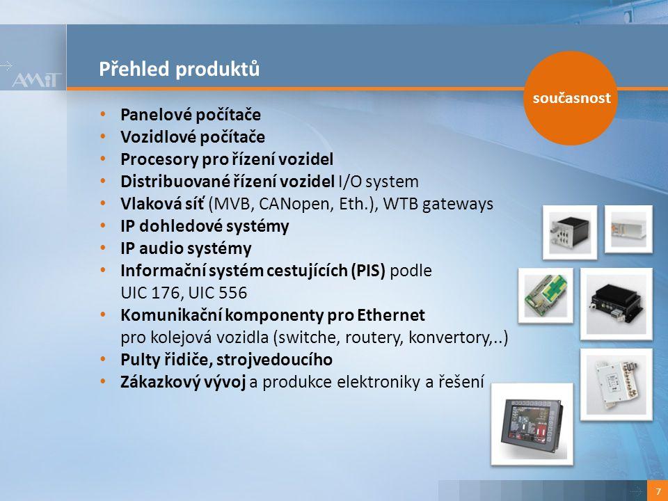 Přehled produktů 7 Panelové počítače Vozidlové počítače Procesory pro řízení vozidel Distribuované řízení vozidel I/O system Vlaková síť (MVB, CANopen, Eth.), WTB gateways IP dohledové systémy IP audio systémy Informační systém cestujících (PIS) podle UIC 176, UIC 556 Komunikační komponenty pro Ethernet pro kolejová vozidla (switche, routery, konvertory,..) Pulty řidiče, strojvedoucího Zákazkový vývoj a produkce elektroniky a řešení současnost