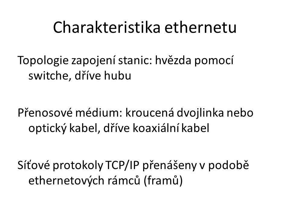 """Charakteristika ethernetu Přístupová metoda k mediu u """"klasického Ethernetu byla CSMA/CD Od verze Fast-Ethernet je provoz plně duplexní = použití přístupové metody odpadá"""