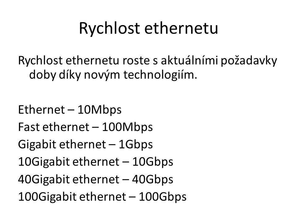 Rychlost ethernetu Rychlost ethernetu roste s aktuálními požadavky doby díky novým technologiím.
