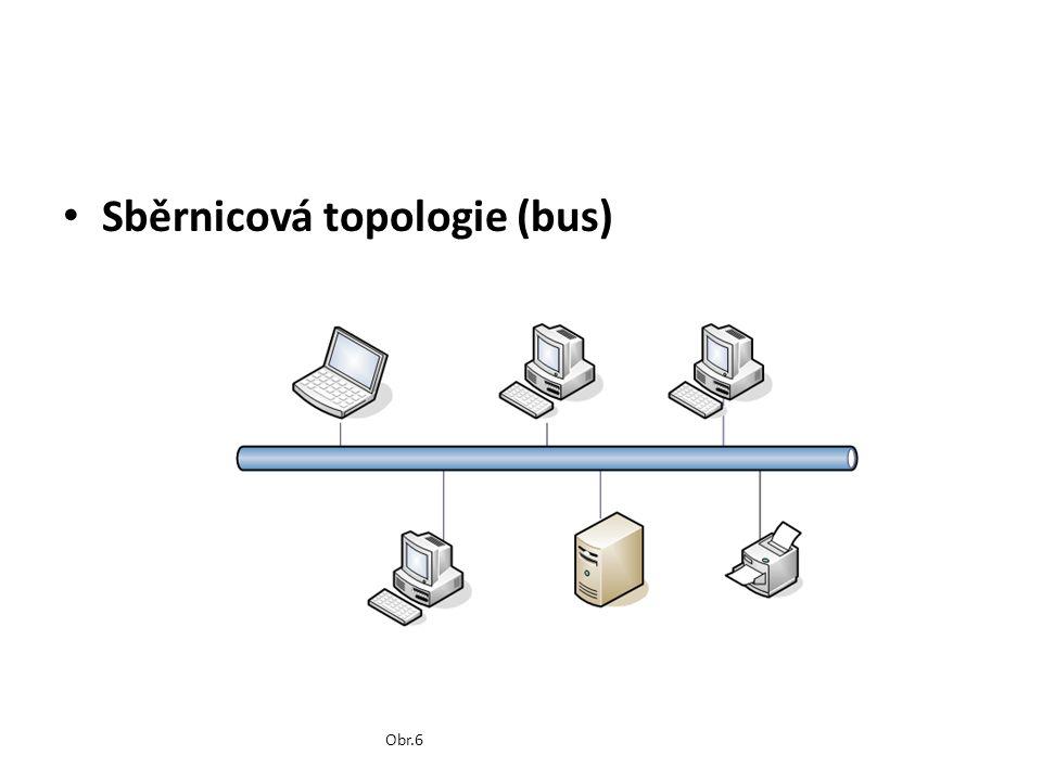 Sběrnicová topologie (bus) Obr.6