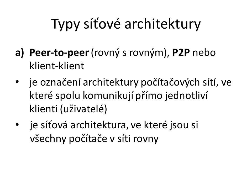 Typy síťové architektury a)Peer-to-peer (rovný s rovným), P2P nebo klient-klient je označení architektury počítačových sítí, ve které spolu komunikují přímo jednotliví klienti (uživatelé) je síťová architektura, ve které jsou si všechny počítače v síti rovny