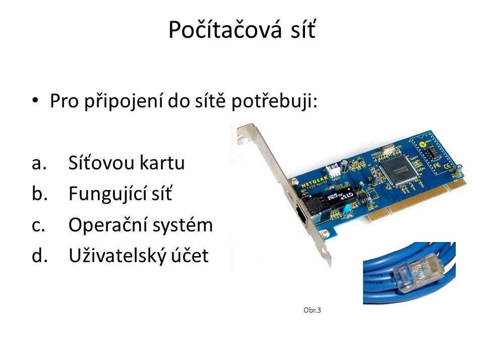 Počítačová síť Pro připojení do sítě potřebuji: a.