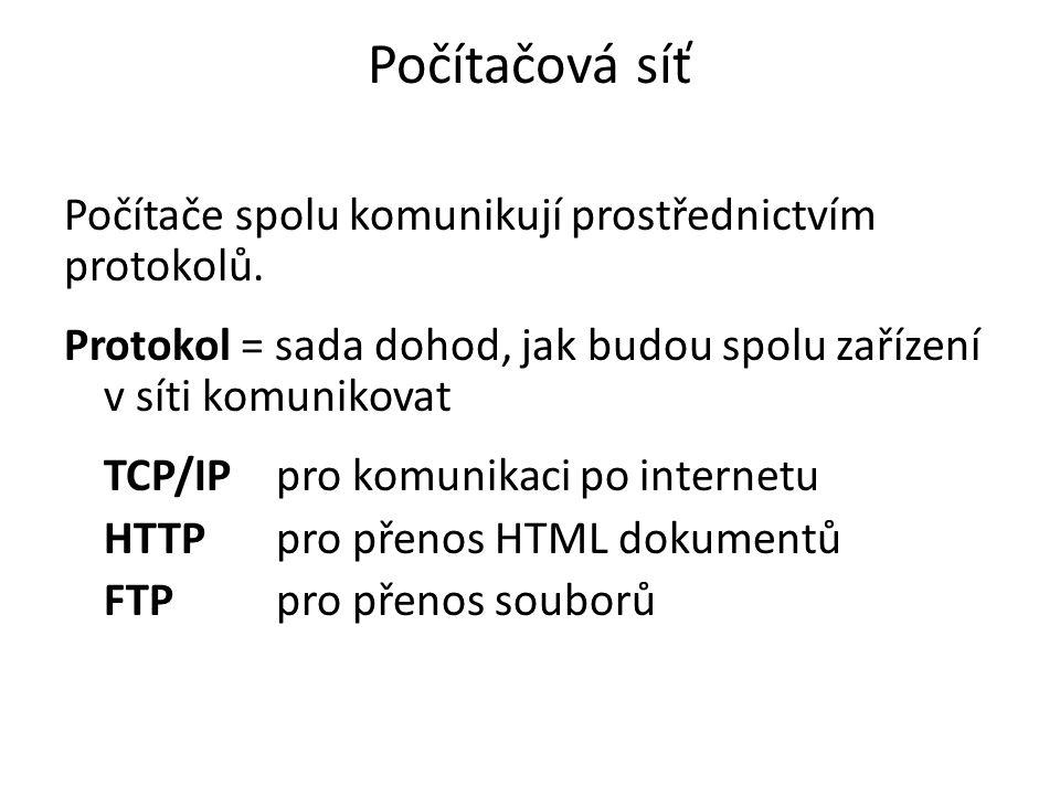 Počítačová síť Počítače spolu komunikují prostřednictvím protokolů.