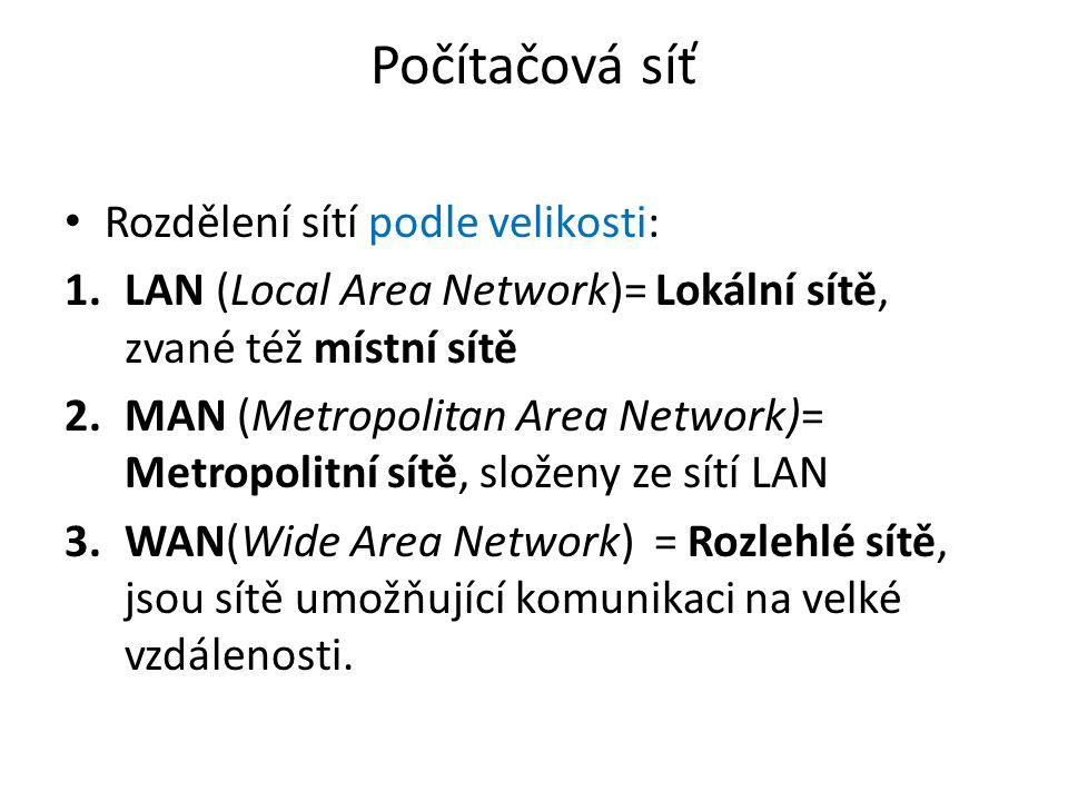 Počítačová síť Rozdělení sítí podle velikosti: 1.LAN (Local Area Network)= Lokální sítě, zvané též místní sítě 2.MAN (Metropolitan Area Network)= Metropolitní sítě, složeny ze sítí LAN 3.WAN(Wide Area Network) = Rozlehlé sítě, jsou sítě umožňující komunikaci na velké vzdálenosti.