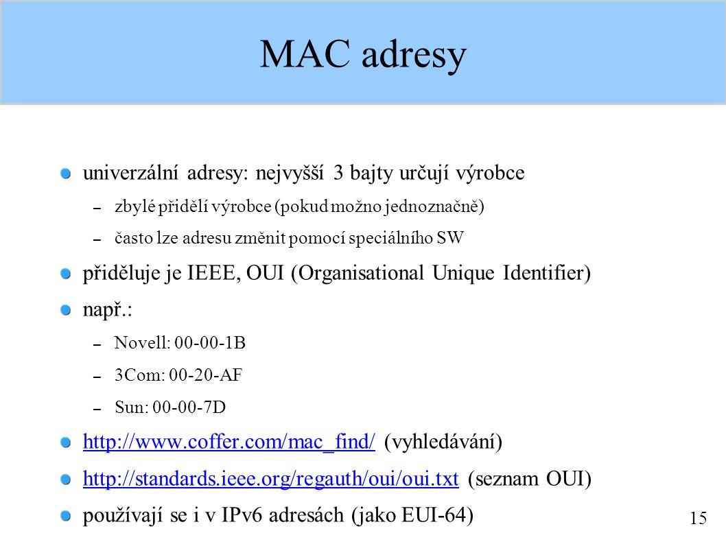 15 MAC adresy univerzální adresy: nejvyšší 3 bajty určují výrobce – zbylé přidělí výrobce (pokud možno jednoznačně) – často lze adresu změnit pomocí speciálního SW přiděluje je IEEE, OUI (Organisational Unique Identifier) např.: – Novell: 00-00-1B – 3Com: 00-20-AF – Sun: 00-00-7D http://www.coffer.com/mac_find/http://www.coffer.com/mac_find/ (vyhledávání) http://standards.ieee.org/regauth/oui/oui.txthttp://standards.ieee.org/regauth/oui/oui.txt (seznam OUI) používají se i v IPv6 adresách (jako EUI-64)