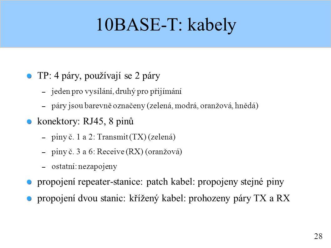 28 10BASE-T: kabely TP: 4 páry, používají se 2 páry – jeden pro vysílání, druhý pro přijímání – páry jsou barevně označeny (zelená, modrá, oranžová, hnědá) konektory: RJ45, 8 pinů – piny č.