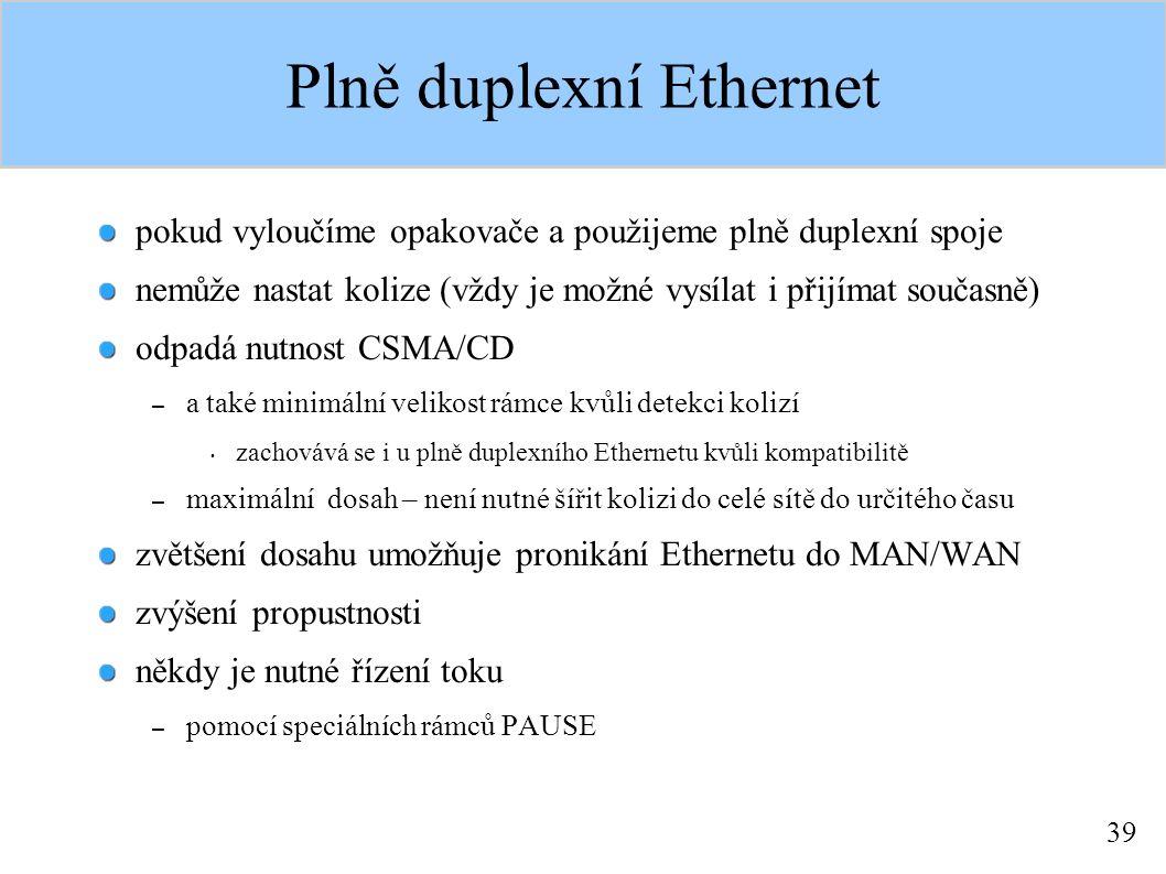 39 Plně duplexní Ethernet pokud vyloučíme opakovače a použijeme plně duplexní spoje nemůže nastat kolize (vždy je možné vysílat i přijímat současně) odpadá nutnost CSMA/CD – a také minimální velikost rámce kvůli detekci kolizí zachovává se i u plně duplexního Ethernetu kvůli kompatibilitě – maximální dosah – není nutné šířit kolizi do celé sítě do určitého času zvětšení dosahu umožňuje pronikání Ethernetu do MAN/WAN zvýšení propustnosti někdy je nutné řízení toku – pomocí speciálních rámců PAUSE
