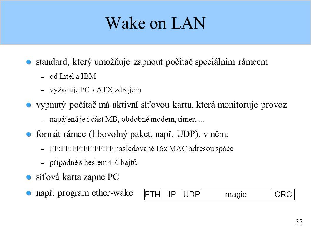 53 Wake on LAN standard, který umožňuje zapnout počítač speciálním rámcem – od Intel a IBM – vyžaduje PC s ATX zdrojem vypnutý počítač má aktivní síťovou kartu, která monitoruje provoz – napájená je i část MB, obdobně modem, timer,...