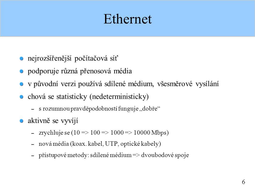 """6 Ethernet nejrozšířenější počítačová síť podporuje různá přenosová média v původní verzi používá sdílené médium, všesměrové vysílání chová se statisticky (nedeterministicky) – s rozumnou pravděpodobností funguje """"dobře aktivně se vyvíjí – zrychluje se (10 => 100 => 1000 => 10000 Mbps) – nová média (koax."""