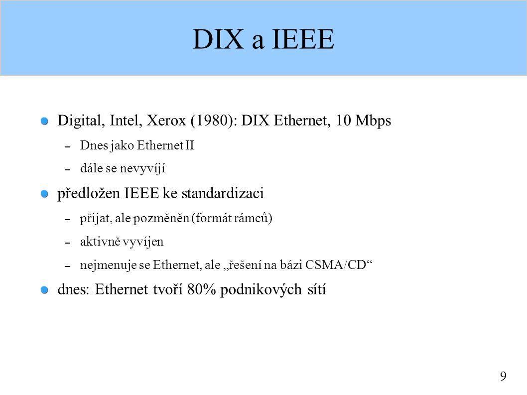 30 Přepínaný Ethernet spojením pomocí repeaterů (hubů) stále zvětšujeme kolizní doménu celková velikost je omezena (huby zpomalují šíření signálu) přepínání na linkové vrstvě: most (více portů: switch) – segmentace sítě na více kolizních domén metoda Store-and-Forward – přepínač rámec přijme, rozhodne kam s ním a pak vyšle, zpoždění 58-1220 μs metoda Cut-Through – přepínač přijme hlavičku, hned se rozhodne a začne vysílat, zpoždění 12 μs mikrosegmentace: segment vždy tvoří jen 2 uzly – vlastně přepínání paketů