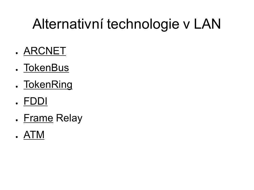 Alternativní technologie v LAN ● ARCNET ● TokenBus ● TokenRing ● FDDI ● Frame Relay ● ATM