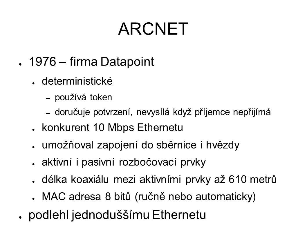 ARCNET ● 1976 – firma Datapoint ● deterministické – používá token – doručuje potvrzení, nevysílá když příjemce nepřijímá ● konkurent 10 Mbps Ethernetu ● umožňoval zapojení do sběrnice i hvězdy ● aktivní i pasivní rozbočovací prvky ● délka koaxiálu mezi aktivními prvky až 610 metrů ● MAC adresa 8 bitů (ručně nebo automaticky) ● podlehl jednoduššímu Ethernetu