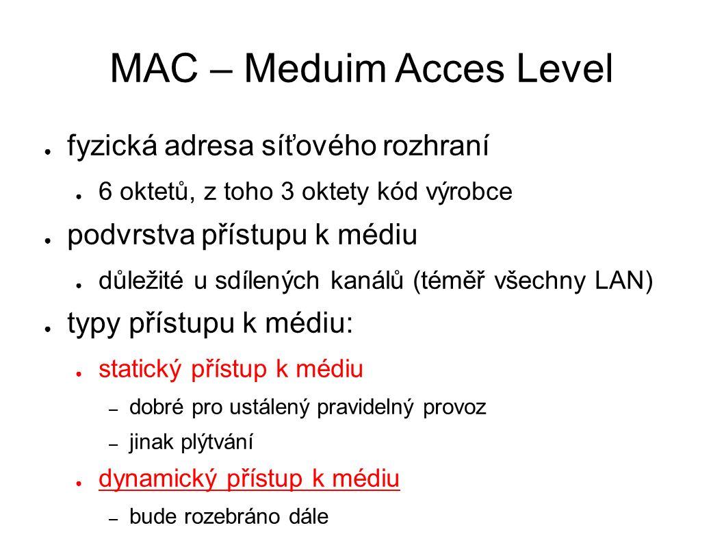 MAC – Meduim Acces Level ● fyzická adresa síťového rozhraní ● 6 oktetů, z toho 3 oktety kód výrobce ● podvrstva přístupu k médiu ● důležité u sdílených kanálů (téměř všechny LAN) ● typy přístupu k médiu: ● statický přístup k médiu – dobré pro ustálený pravidelný provoz – jinak plýtvání ● dynamický přístup k médiu – bude rozebráno dále