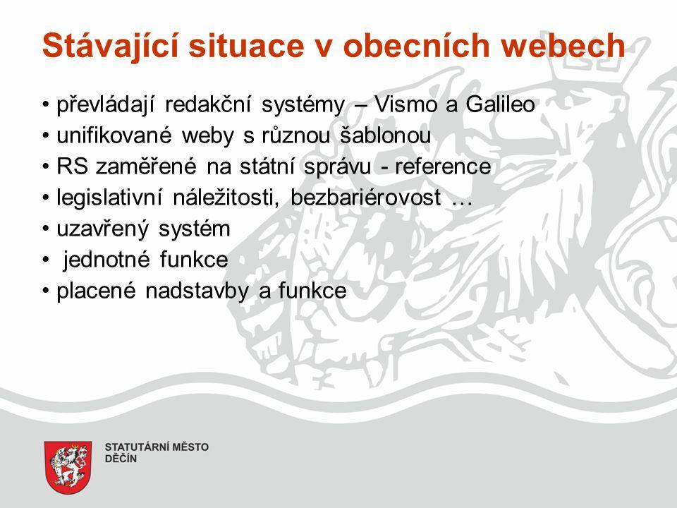 Stávající situace v obecních webech převládají redakční systémy – Vismo a Galileo unifikované weby s různou šablonou RS zaměřené na státní správu - reference legislativní náležitosti, bezbariérovost … uzavřený systém jednotné funkce placené nadstavby a funkce
