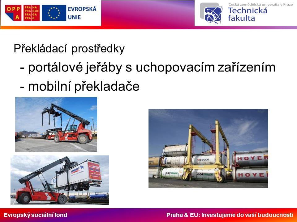Evropský sociální fond Praha & EU: Investujeme do vaší budoucnosti Překládací prostředky - portálové jeřáby s uchopovacím zařízením - mobilní překladače