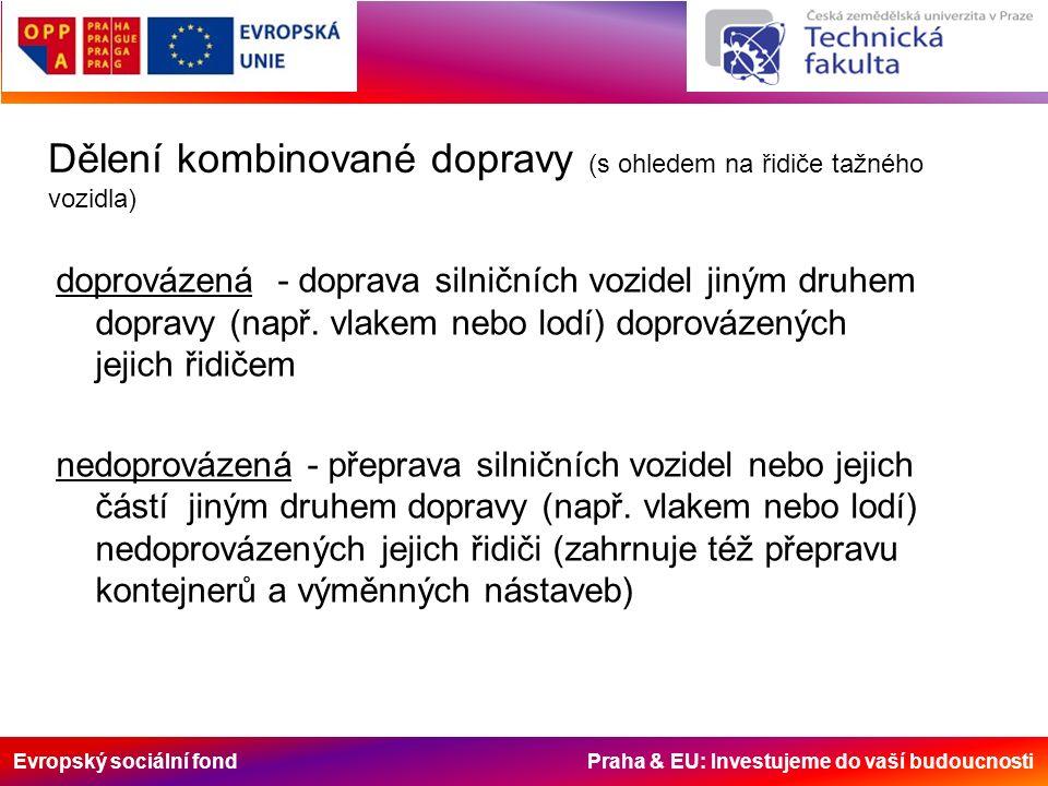 Evropský sociální fond Praha & EU: Investujeme do vaší budoucnosti Dělení kombinované dopravy (s ohledem na řidiče tažného vozidla) doprovázená - doprava silničních vozidel jiným druhem dopravy (např.
