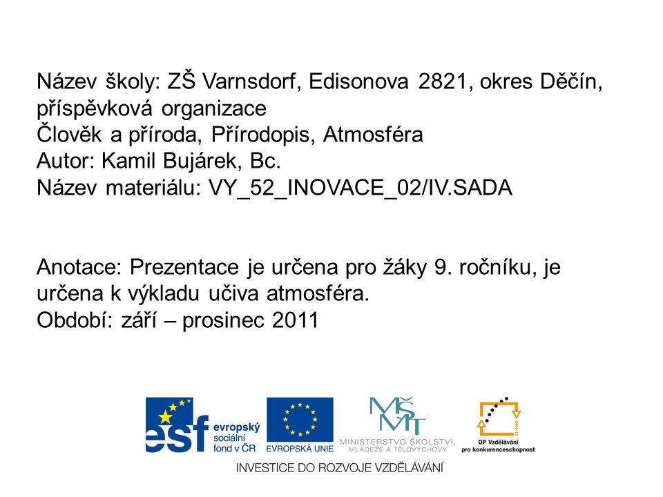 Název školy: ZŠ Varnsdorf, Edisonova 2821, okres Děčín, příspěvková organizace Člověk a příroda, Přírodopis, Atmosféra Autor: Kamil Bujárek, Bc.