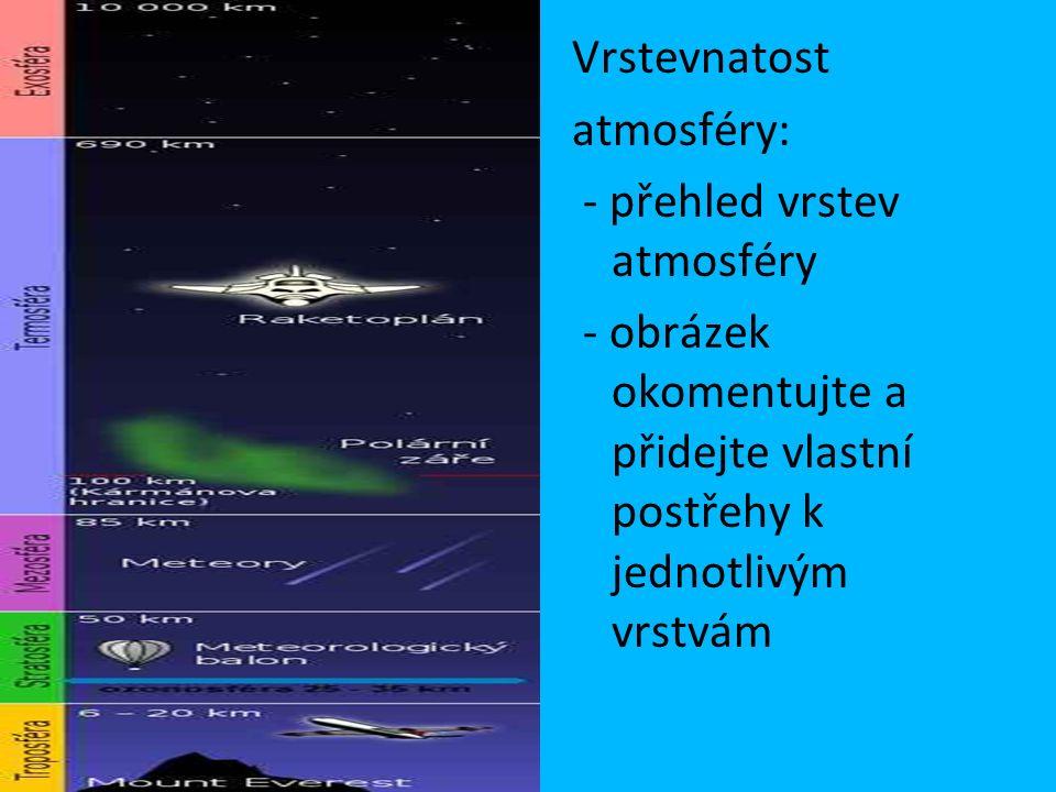 Vrstevnatost atmosféry: - přehled vrstev atmosféry - obrázek okomentujte a přidejte vlastní postřehy k jednotlivým vrstvám