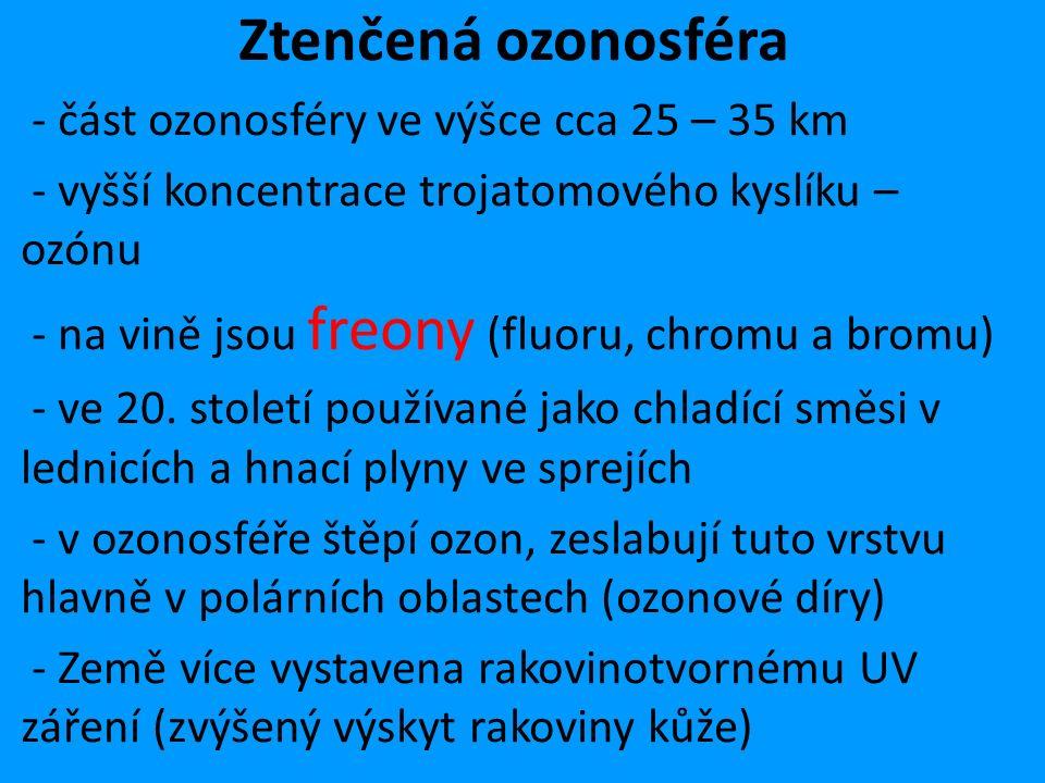 Ztenčená ozonosféra - část ozonosféry ve výšce cca 25 – 35 km - vyšší koncentrace trojatomového kyslíku – ozónu - na vině jsou freony (fluoru, chromu a bromu) - ve 20.