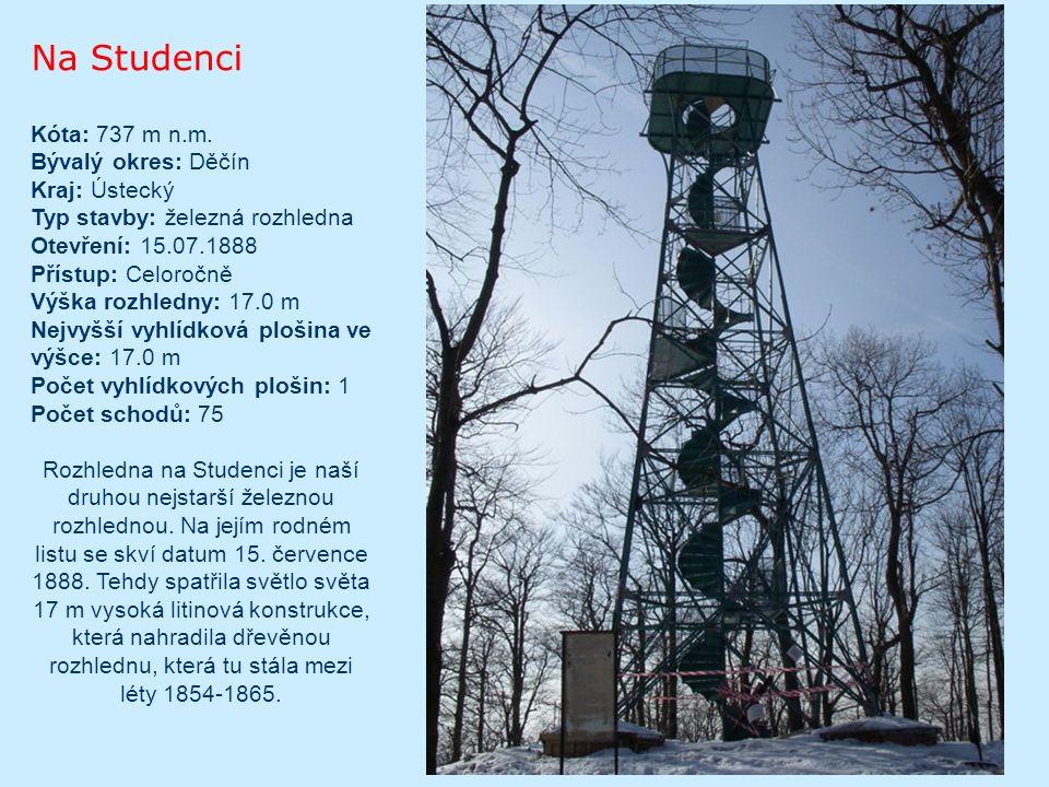 Na Blatenském vrchu 21 metrů vysoká kamenná rozhledna byla vybudována v roce 1913 z iniciativy Spolku pro zimní sporty z Horní Blatné.