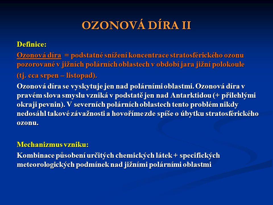 OZONOVÁ DÍRA II Definice: Ozonová díra = podstatné snížení koncentrace stratosférického ozonu pozorované v jižních polárních oblastech v období jara jižní polokoule (tj.