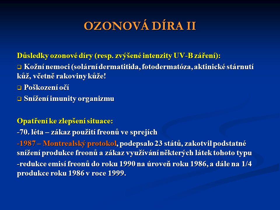 OZONOVÁ DÍRA II Důsledky ozonové díry (resp.