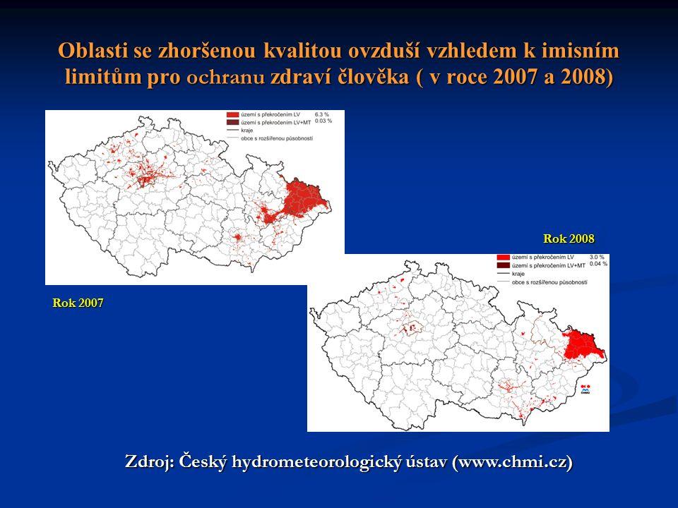 Oblasti se zhoršenou kvalitou ovzduší vzhledem k imisním limitům pro ochranu zdraví člověka ( v roce 2007 a 2008) Zdroj: Český hydrometeorologický ústav (www.chmi.cz) Rok 2007 Rok 2008
